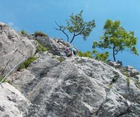 Das letzte bisschen zusammenhängenden Fels in der 6. Seillänge